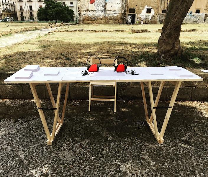 Ottonella Mocellin - Nicola Pellegrini, Blind Walk, 2018, audio walk (tavolo), Manifesta 12, Palermo Courtesy Ottonella Mocellin - Nicola Pellegrini