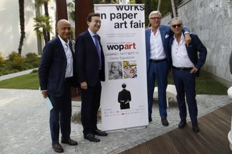 WOPART. Work on Paper Art Fair Lugano 2017, conferenza stampa, Giandomenico Di Marzo, Marco Borradori, Luigi Belluzzi e Paolo Manazza