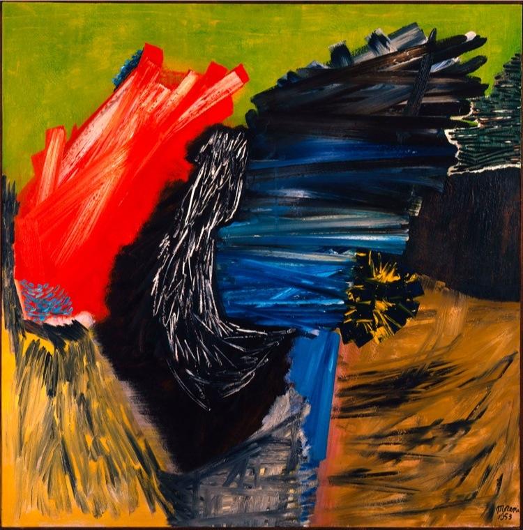 Mattia Moreni, Colpo di vento, 1953, olio su tela, 130x130 cm, GAM – Galleria Civica d'Arte Moderna e Contemporanea, Torino Acquisto della Fondazione per l'Arte Moderna e Contemporanea CRT presso Christie's, 2002, Roma