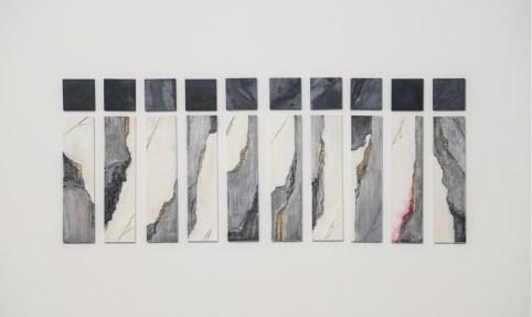 Zen.Zero, Moti, 2018, ardesia e acrilico su legno, dimensione totale 48x108 cm