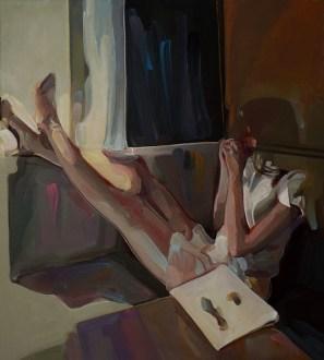 Evita Andújar, Stolen Selfie 29 o Guardando le stelle del mattino, 2019, acrilico su tela, 90x80 cm