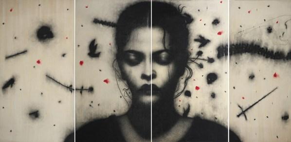 Omar Galliani, Nelle tue stanze, 2008, carboncino su tavola e pigmento rosso, cm 252x509, polittico