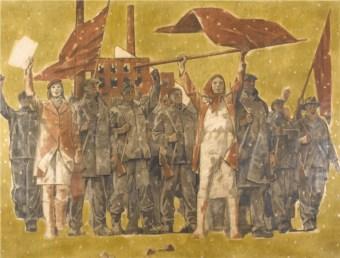 Adolf Zábranský, Febbraio 1948, (cartone del Ciclo Tradizione rivoluzionaria dei nostri uomini VI), 1972-81, carboncino e guazzo su carta applicata su tela, 215x305 cm, Collezione Fondazione Eleutheria