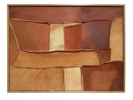 Nuvolo, Senza Titolo, 1960, pelle di daino colorata e cucita, montata su telaio, 55x72 cm