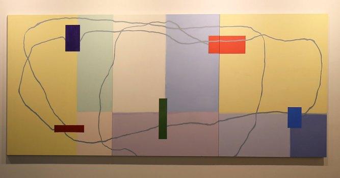 Nataly Maier, Dedalo 16, 2019, tempera all'uovo su tela, 165x465 cm Courtesy l'artista e Artesilva, Seregno