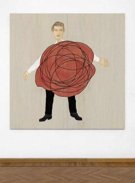 Stephan Balkenhol, Man in wad, 2019, legno Wawa dipinto, 200×201×2.5 cm Courtesy Monica De Cardenas, Milano Credit Andrea Rossetti