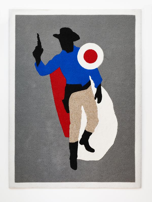 Oliviero Fiorenzi, Cowboy target shot, 2020, cocco sintetico intarsiato a mano, 150x110 cm Courtesy The Address