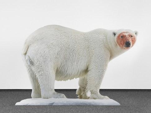 Katja Novitskova, Approximation (polar bear), 2017, digital print on aluminum, cutout display, acrylic glass, 148x226x38 cm Courtesy the artist and Fondazione Sandretto Re Rebaudengo, Torino