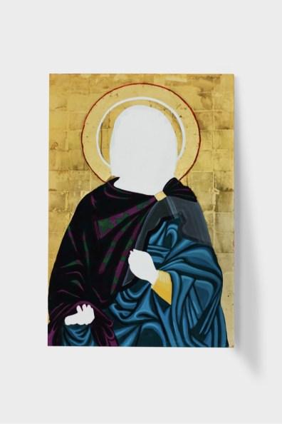 Filippo Riniolo, Priestess, 2020, tempera all'uovo + foglia d'oro, 90x59 cm Courtesy Traffic Gallery, 2020 Photo Zoe Rigante