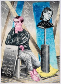 Marion Fink, Their absolute forbidden thought had been that maybe none of this was real, 2020, monotipo, olio e pastello a cera su carta, 210x153 cm
