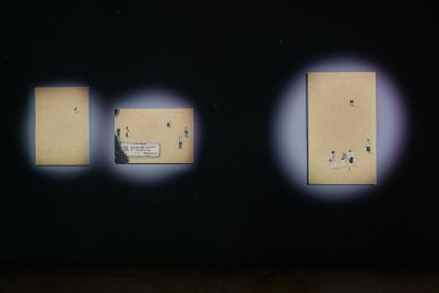 Trisha Baga, Seeds Paintings, 2017, veduta dell'installazione Courtesy l'artista e Pirelli HangarBicocca Foto Agostino Osio