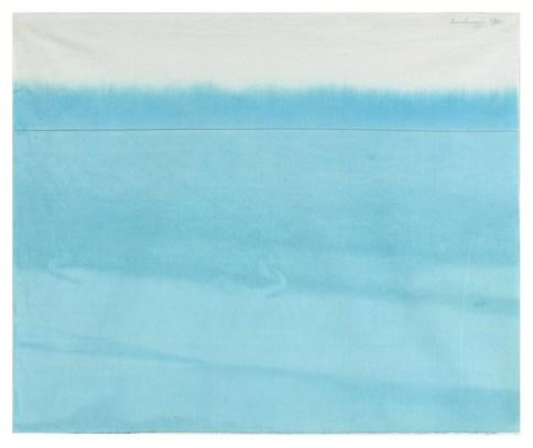 Antonio Scaccabarozzi, Immersione, 1980, tela non preparata parzialmente immersa 53x64 cm Courtesy Archivio Antonio Scaccabarozzi