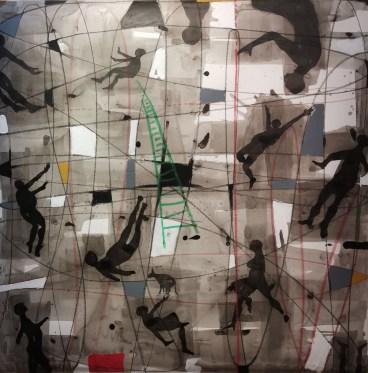 Nu Barreto, Senza titolo, 2016, olio, pastello e acquarello su carta applicata su tela, cm 130X130. Courtesy Galleria Giovanni Bonelli & LIS10 Gallery