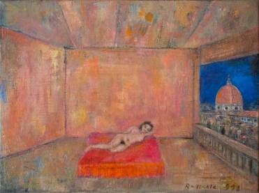 Raffaele Bueno, Signorina a Firenze, 1998, olio su tela, cm 40x30. Courtesy Galleria Susanna Orlando