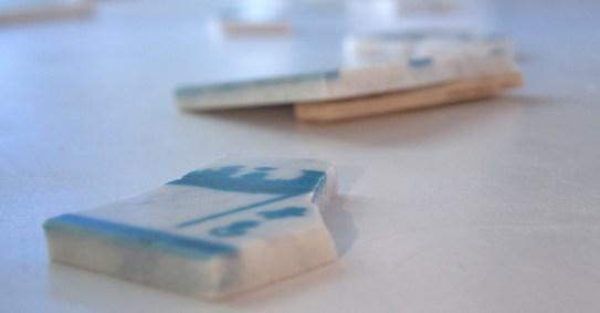 Diego Randazzo. Immagini simili : studio 1, veduta della mostra (dettagli dei pezzi di marmo), ADD-art Galleria d'Arte Contemporanea, Spoleto (PG)