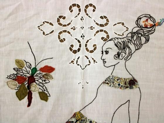 Loredana Galante, Portatrice, 2021, ricamo e tessuto cucito su tende antiche (particolare)