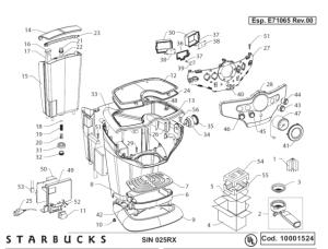Starbucks Sirena Drawing 1  Espresso Machine Parts