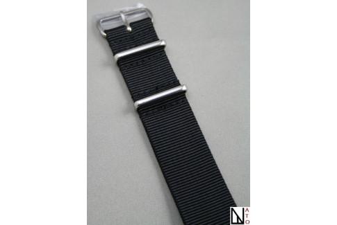 bracelet nylon nato noir xl extra long 30 5cm