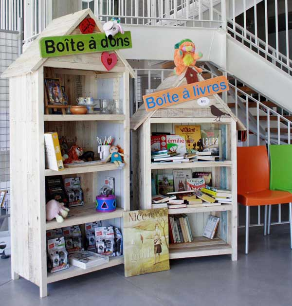 bibliotheque give box en palette