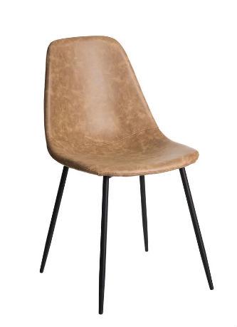 chaise vintage en simili cuir beige
