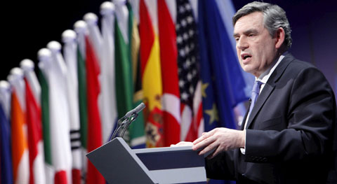 O primeiro-ministro britânico, Gordon Brown, na cimeira do G20. Foto EPA/OFFICIAL HANDOUT EDITORIAL