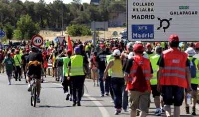 Marcha de protesto dos mineiros chegou este domingo à Comunidade de Madrid