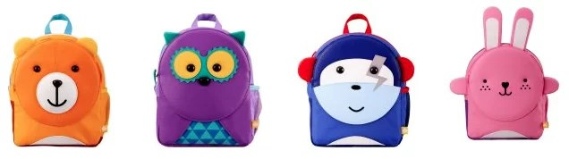 puku pals backpacks bear, owl, space monkey, and bunny