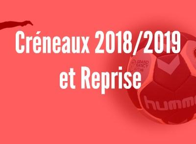 Créneaux2018/2019 & Dates de reprise