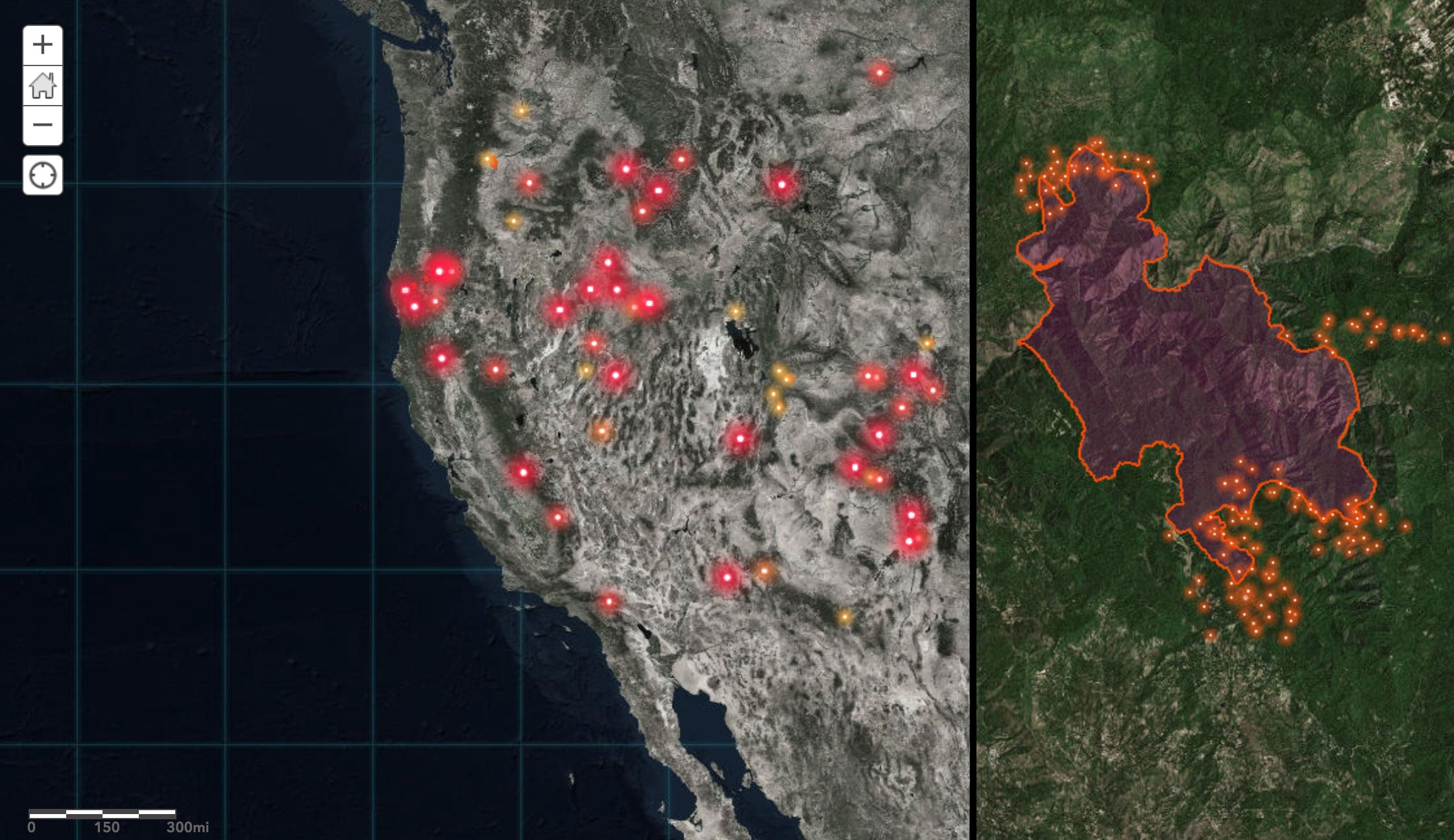 Last year esri updated the wildfire live feed hosted in the living atlas for the united states. Mapping The Inferno