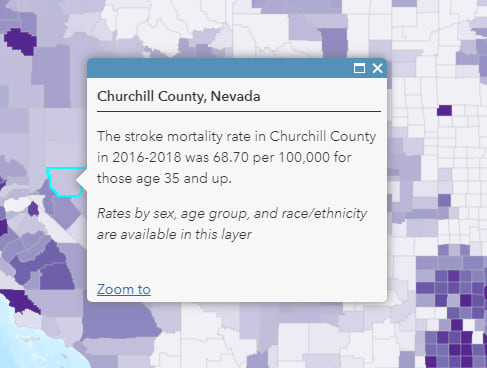 "Churchill County, Nevada is selected on the map. The pop-up reads: ""The stroke mortality rate in Churchill County in 2016-2018 was 68.70 per 100,000 for those age 35 and up. Rates by sex, age group, and race/ethnicity available in the layer."""