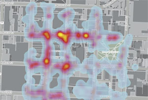 This heat map, which displays litter data collected using Litter Reporter, resulted in two additional solar-powered trash compacting units being placed at the corner of Hargett and Wilmington streets, where high densities of litter were recorded.