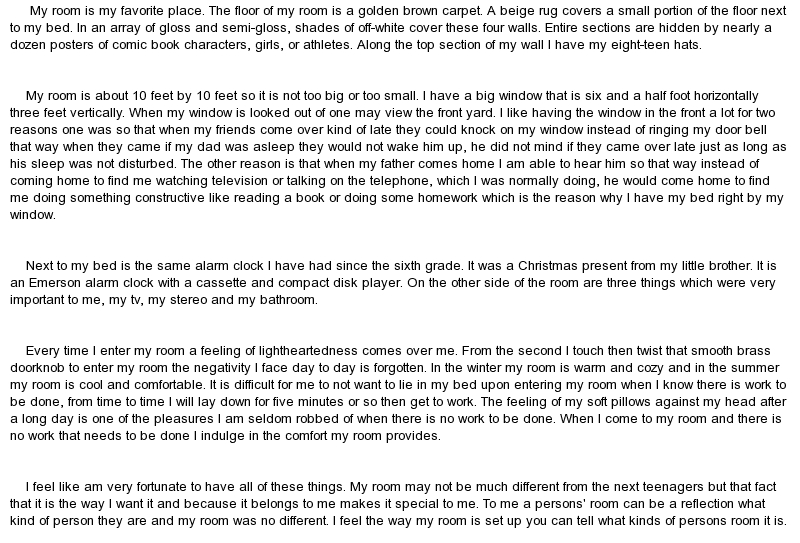 my favorite bedroom essay