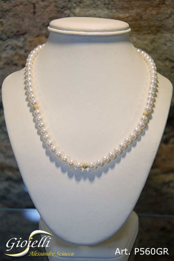 P560GR - Girocollo in perle naturali acqua dolce