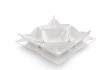 antipastiera in porcellana bianca
