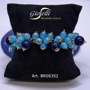 Bracciale con charm in agata blu e azzurra