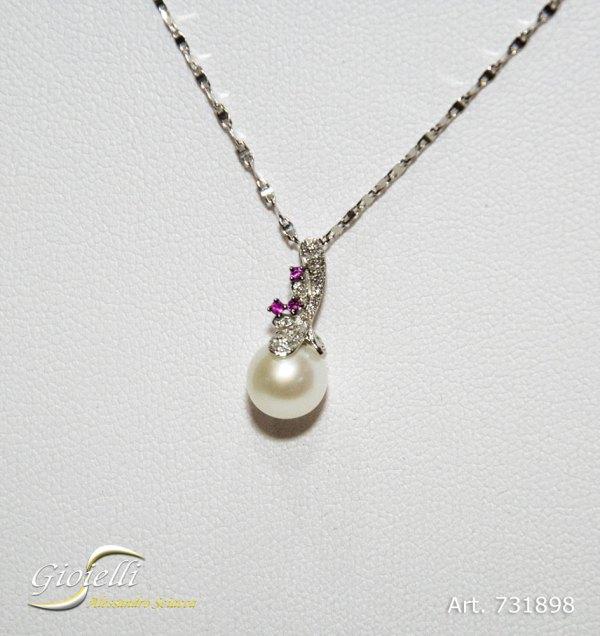Pendente con perla 5mm,diamanti e zaffiri rosa