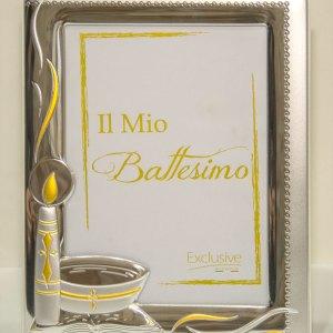 Portafoto in argento bilaminato ricorrenza battesimo PFEX0052
