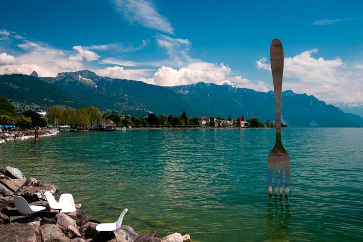 Orla de Vevey, Suíça (Foto via Shutterstock)