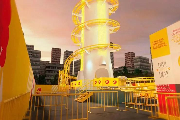 Carnaval de São Paulo terá montanha-russa na rua e chuveirão de glitter (Foto: Divulgação/Skol)
