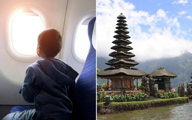 Menino de 12 anos rouba cartão da mãe e viaja pra Bali sozinho (Foto da esquerda via Shutterstock / Dir. Pixabay)