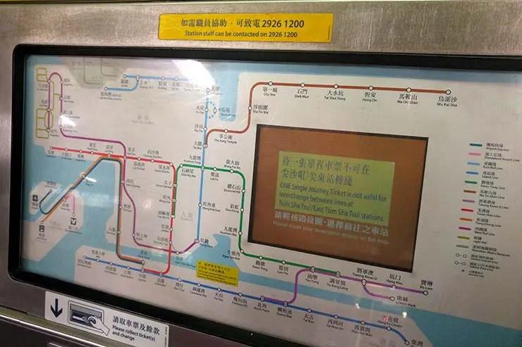 Máquina de venda de bilhetes do metrô de HK (Foto: Esse Mundo É Nosso)
