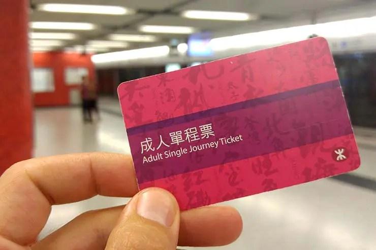Bilhete do metrô de Hong Kong (Foto: Esse Mundo É Nosso)