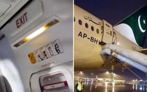Avião da PIA com tobogã aberto após passageira confundir saíde de emergência com porta do banheiro (Foto: Reprodução/@historyofpia1)