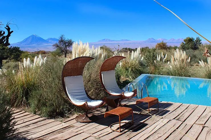 Piscina externa do Tierra Atacama (Foto: Esse Mundo É Nosso)