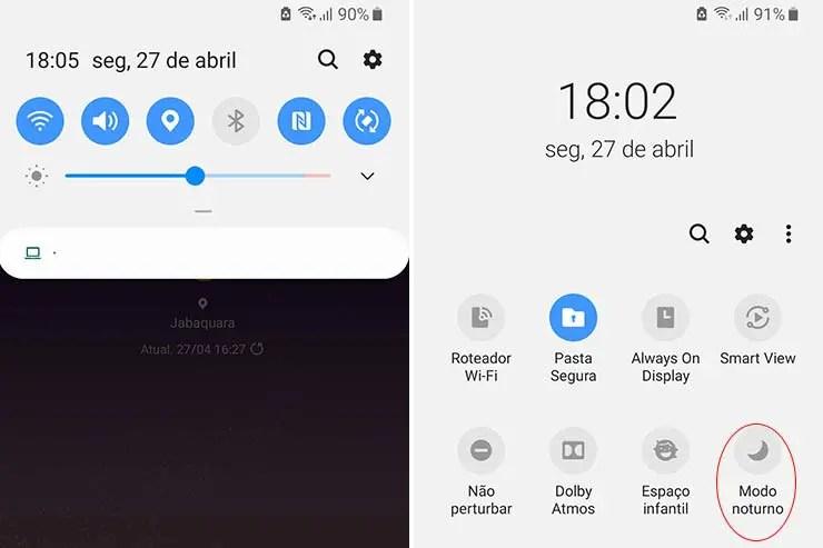Atalho Modo Noturno Android (Foto: Esse Mundo É Nosso)