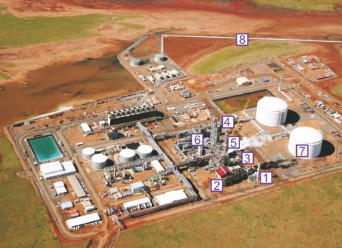 An aerial photo of an ammonia plant in Western Australia.  It shows the lay out including the primary reformer and the ammonia converter.  It is close to the sea and so there is a pipeline for the ammonia to the docks.