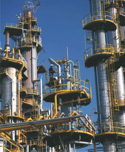 A photograph showing part of BP's refinery at Castellon near Valencia, in Spain.  The photograph shows the catalytic reforming unit in which benzene and other aromatic hydrocarbons are produced from naphtha.