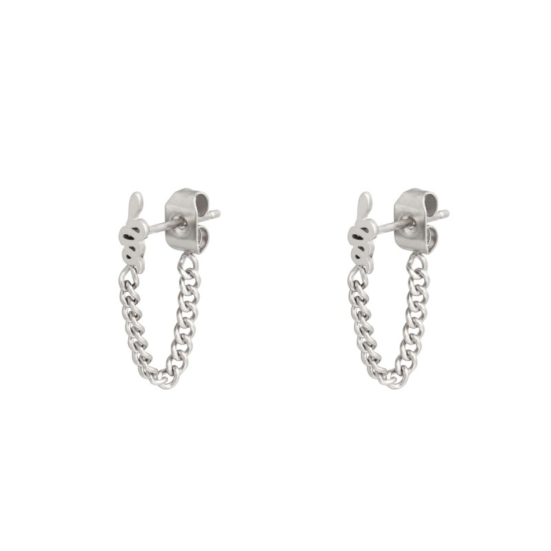 Stud earrings with chain snake silver
