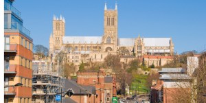 Lincoln Cathedral seen from the pedestrian bridge over Broadgate