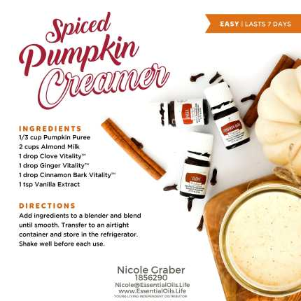 Spiced pumpkin creamer recipe featuring clove, ginger, and cinnamon vitality essential oils